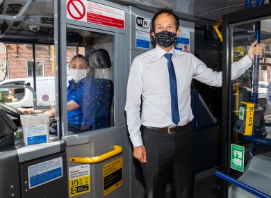 Then-Taoiseach Leo Varadkar with Dublin Bus driver Suzanne Armstrong at the launch of a campaign on 15 June to wear face coverings on public transport.