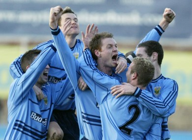 Tony McDonnell celebrates scoring for UCD in 2006.