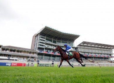 haiyyath ridden by jockey William Buick on the way to winning the Juddmonte International Stakes.