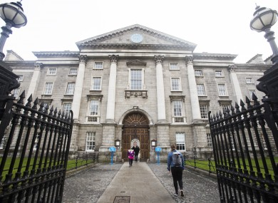 The gates of Trinity College at College Green in Dublin.