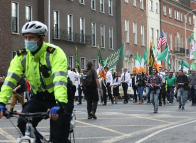 Protesters in Dublin at the weekend.