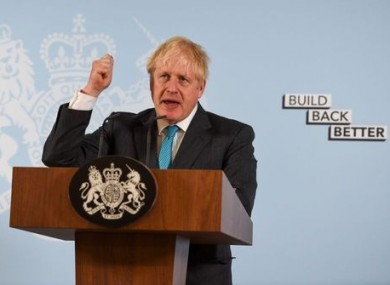 Boris Johnson delivers a speech yesterday during a visit to a construction college in Exeter.