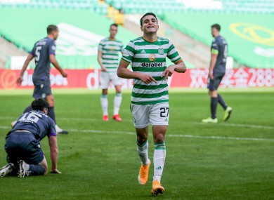 Celtic's Mohamed Elyounoussi celebrates scoring his side's third goal.