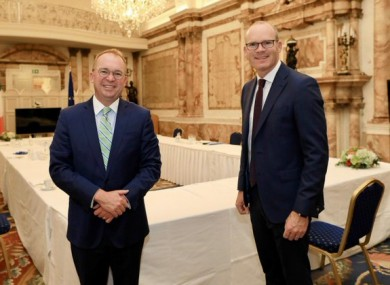 US Special Envoy Mick Mulvaney, right, meets Minister for Foreign Affairs Simon Coveney.