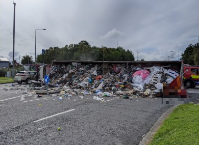 The scene after the lorry overturned at Liffey Valley.
