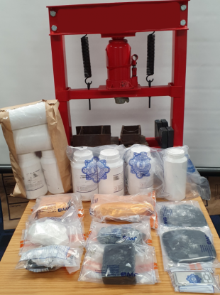 An image of the drugs seized in last night's search.