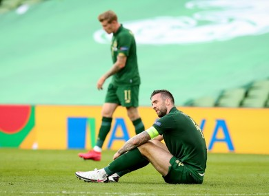 Ireland's Shane Duffy dejected after the Finland game.
