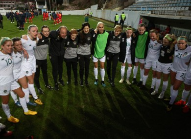 Stephanie Roche alongside Vera Pauw in the Irish huddle after their most-recent win over Montegero.