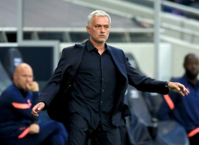 Jose Mourinho during today's defeat to Everton.