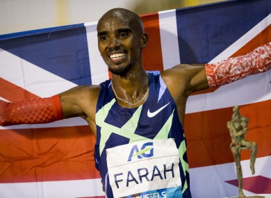 Mo Farah celebrates after setting a new One Hour Record.