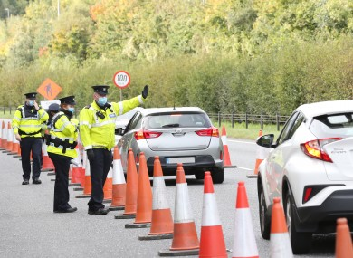 Gardaí speaking to drivers at a checkpoint on the M11 near Bray during the week.