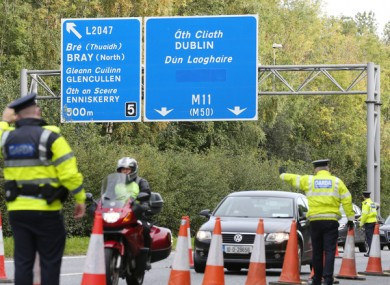 Gardai speaking to commuters at a check point on the M11 near Bray as part of Operation Fanacht.