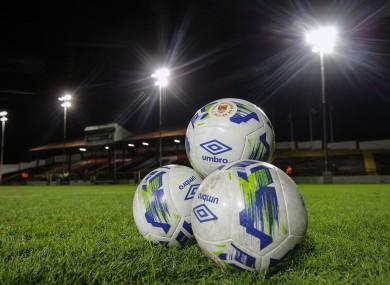 A general view of footballs at Tolka Park.