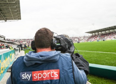 A general view of a Sky Sports camera operating covering GAA action in 2018.