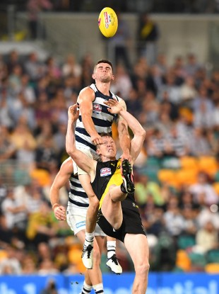 Mark O'Connor competing with Jack Riewoldt of the Tigers during the AFL Grand Final.
