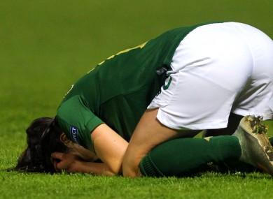 Áine O'Gorman reacts to her first-half own goal.
