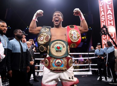 Anthony Joshua pictured last year after victory against Andy Ruiz in Saudi Arabia.