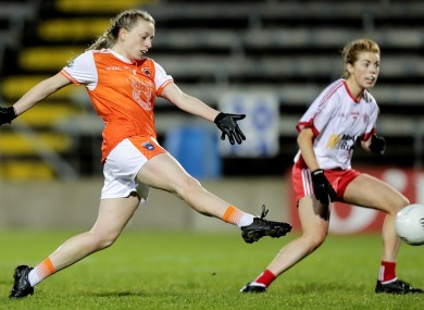 Aoife McCoy scoring a goal for Armagh.