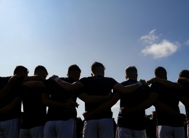 A GAA team huddle.