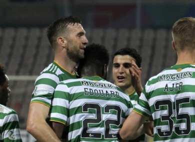 Odsonne Edouard celebrates his winning goal with Shane Duffy and his Celtic team-mates.