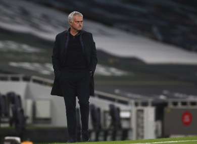 Jose Mourinho pictured during tonight's game.