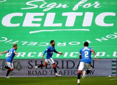 Rangers' Connor Goldson (centre) celebrates at Celtic Park.