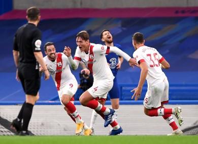 Southampton's Jannik Vestergaard celebrates scoring his side's equaliser.