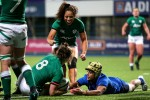 Ireland celebrate Ciara Griffin's try.
