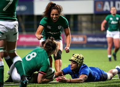 Ireland celebrate Ciara Griffin's try.
