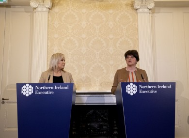First Minster Arlene Foster (right) and Deputy First Minister Michelle O'Neill