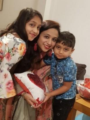 Seema Banu with her children.