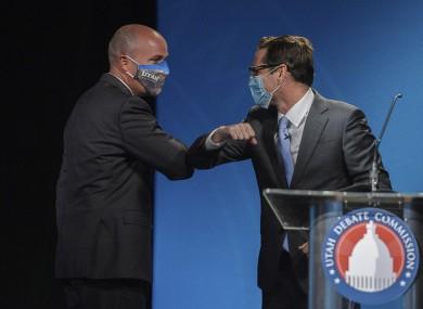 Utah Lt. Gov. Spencer Cox, left, a Republican and Democratic challenger Chris Peterson
