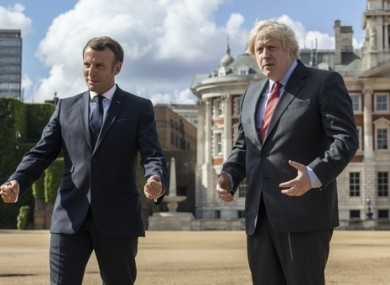 UK Prime Minister Boris Johnson alongside French President Emmanuel Macron in June.