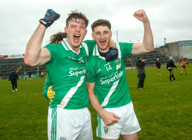 Owen Gallagher (left) celebrate Moycullen's Galway final win with Niall Walsh.