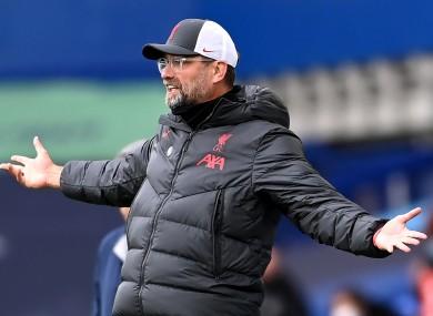 Jurgen Klopp's reaction to Liverpool's disallowed goal.