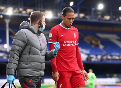 Virgil Van Dijk came off the field during the first half.