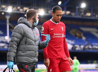 Van Dijk was injured by Everton's Jordan Pickford.