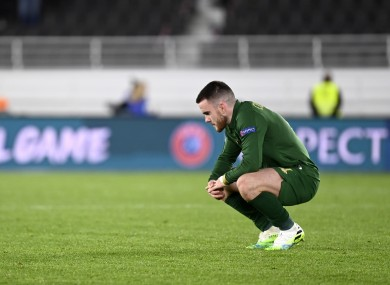 Republic of Ireland's Aaron Connolly looking dejected in the aftermath of the loss to Finland.