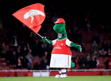 Gunnersaurus, the Arsenal mascot (file pic).