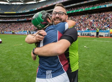 Westmeath camogie manager Johnny Greville celebrates his side's Intermediate championship win last year.