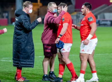 Munster's Josh Wycherley is congratulated by Keith Earls after earning his first senior provincial cap on Monday.