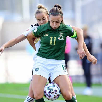 Katie McCabe, in action against Germany last month.