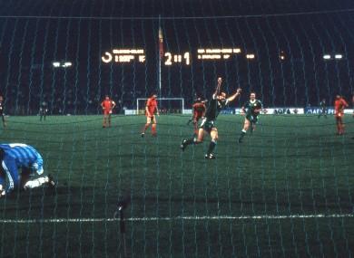 Ireland's Liam Brady celebrates scoring his side's second goal against Belgium in 1986.