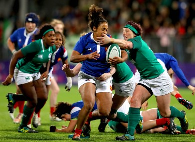 Ireland's Lindsay Peat and Maylis Traore Dhia of France in action last year.