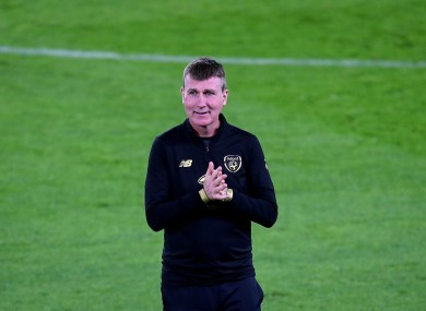 Stephen Kenny pictured during training in Bratislava yesterday.