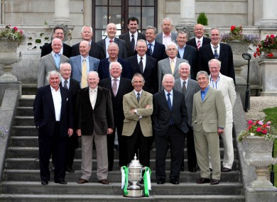Members of the Shamrock Rovers teams of the 1960s that won an unprecedented six FAI Cups in a row, pictured at a commemoration lunch in 2007.