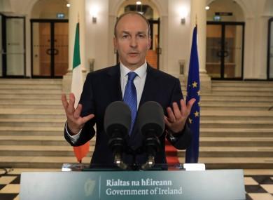 Taoiseach Micheál Martin addressing the nation this evening.