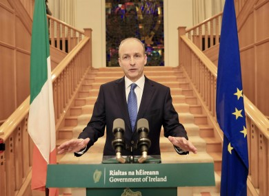 Taoiseach Micheál Martin at Government Buildings in Dublin where he addressed the nation on Monday night.
