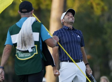Garcia smiles after making a birdie on the 18th hole and winning the Sanderson Farms Championship.