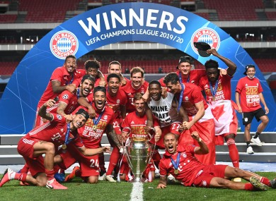 Bayern Munich after their victory over PSG in August.